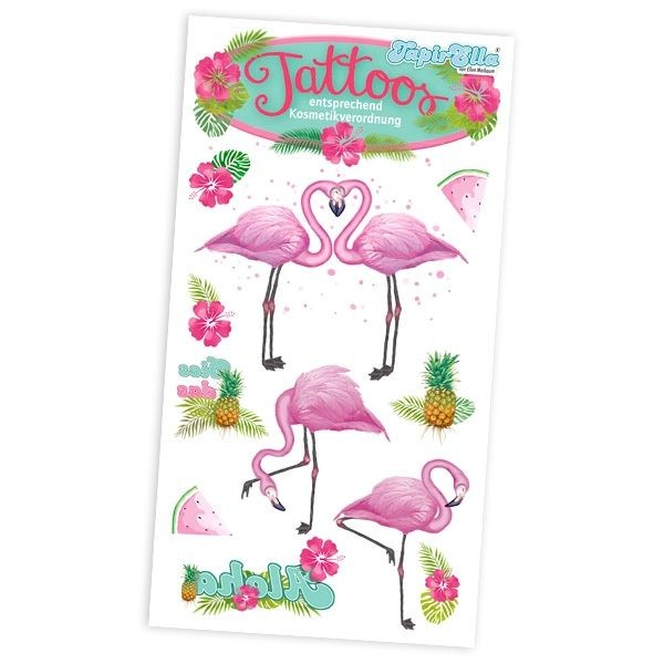 Tattoos Flamingo, 1 Karte, 10,5x5,6cm
